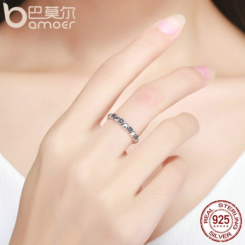 BAMOER Genuine 925 Sterling Silver Stackable Ring Heart Black CZ Finger Rings for Women Wedding Anniversary