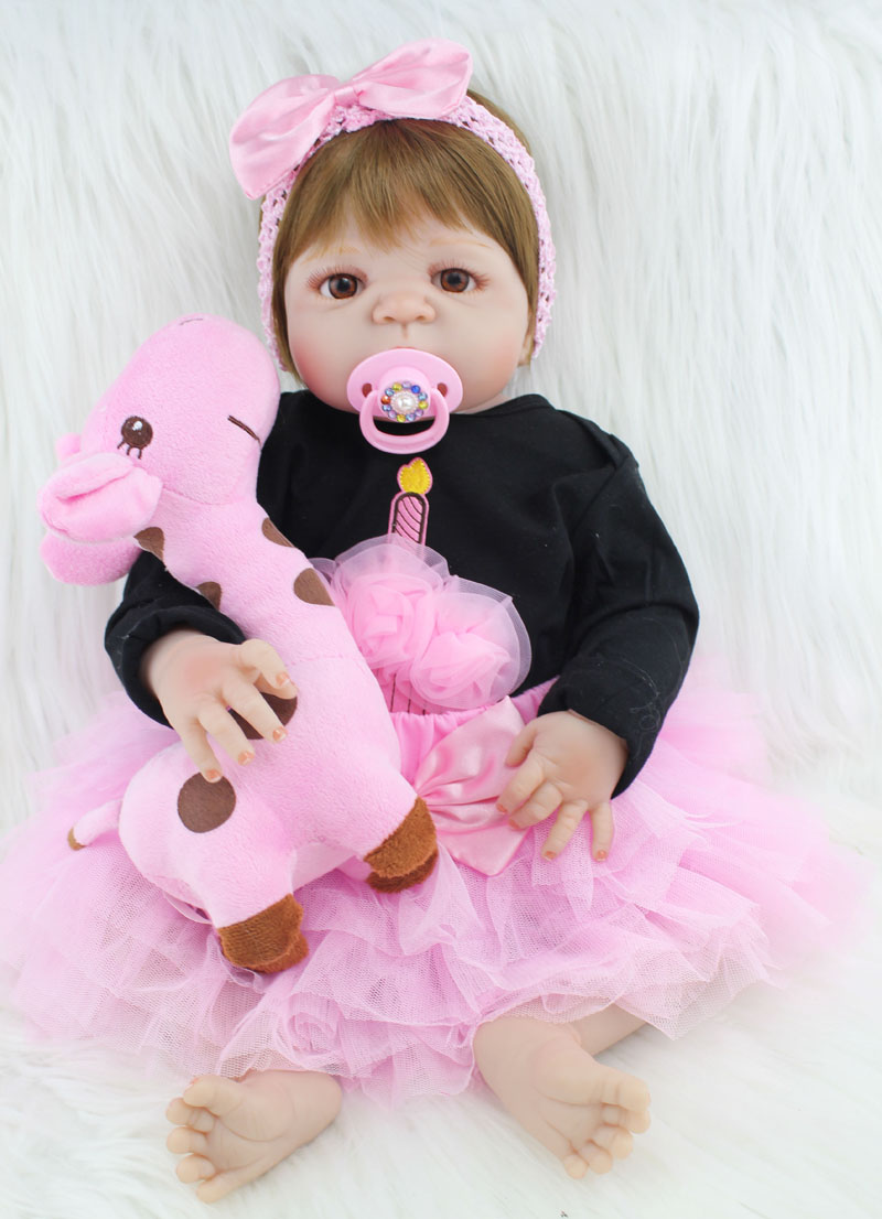 Plein Corps En Silicone Reborn Fille Bébé Comme Vraie Poupée Jouets 55 cm Nouveau-Né Princesse Toddler Bébés Poupées Cadeau D'anniversaire Tôt l'éducation