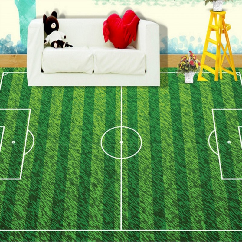 Free Shipping custom Green football field lawn green field 3D stereo living room restaurant Self-adhesive floor wallpaper mural free shipping european football club football star messi portrait wallpaper mural