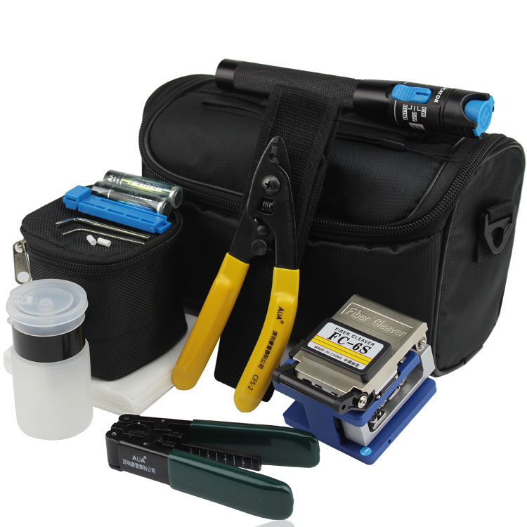 8 In 1 Fiber Optic FTTH Tool Kit with FC-6S Fiber Cleaver and 1MW Visual Fault Locator Stripper CFS-2 Alcohol bottle8 In 1 Fiber Optic FTTH Tool Kit with FC-6S Fiber Cleaver and 1MW Visual Fault Locator Stripper CFS-2 Alcohol bottle