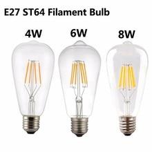50pcs/lot E27 ST64 Filament LED Bulb 4W 6w 8W Light Vintage lamp dimmable ST21 warm white cold 110V 230V