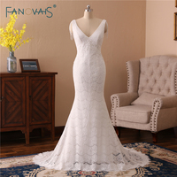 Charming Lace Wedding Dresses 2018 V Neck Mermaid Wedding Gown Tulle Open Back Beaded Bridal Tassel