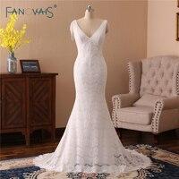Charming Lace Wedding Dresses 2018 V Neck Mermaid Wedding Gown Tulle Open Back Beaded Bridal Tassel