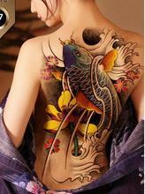 Waterproof Temporary Tattoo Sticker Koi lotus men's whole back tattoo large Water Transfer Fake Tattoo Flash tattoo for women