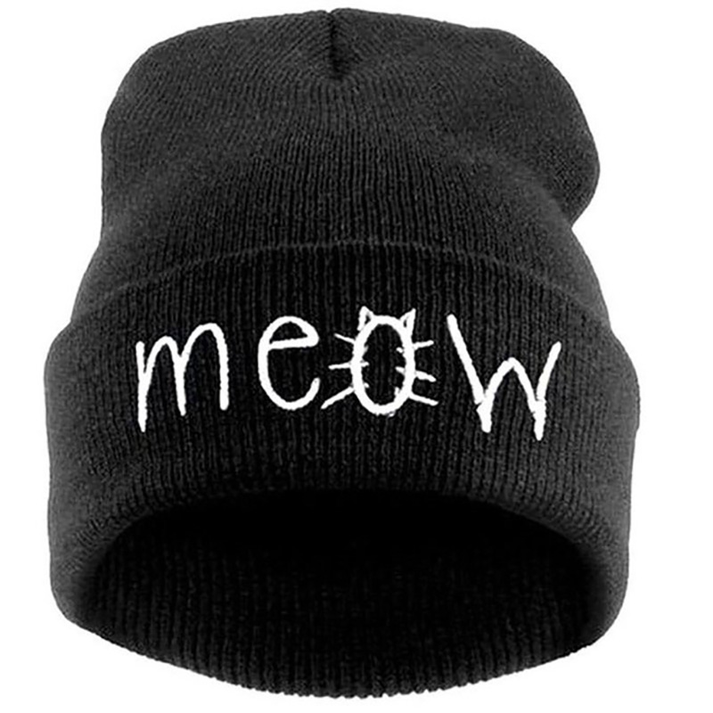 Hip-hop Knitted Hats for Men and Women with MEOW Embroidery Winter Caps Outdoor Ski Skullies & Beanies Unisex Solid Color Hat sn su sk snowboard gorros winter ski hats skating caps skullies and beanies for men women hip hop caps knitting bonnet chapeu
