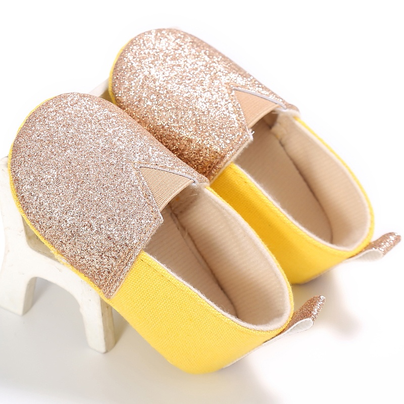 Newborn shoes Baby First Walkers Baby Girl Bling Elastic Band Soft Sole Fabric Baby Girl Shoes