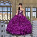 In Stock 2017 Sweetheart Purple Organza Ball Gowns Beaded Quinceanera dresses Cheap Quinceanera Gowns Vestidos De 15 Anos Q2