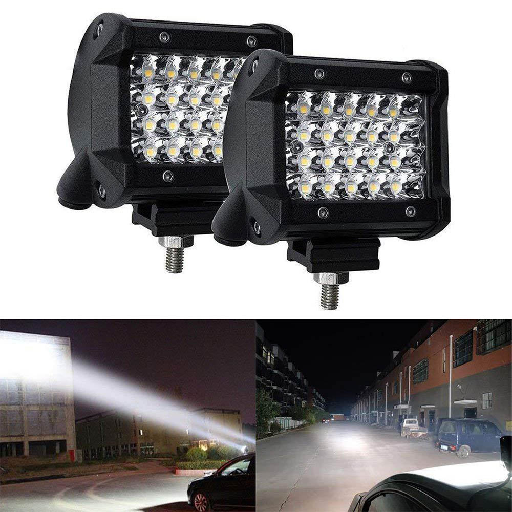 2pcs Waterproof 4 Inch 72W LED Work Light Bar LED Light Bars Spot Flood Beam For Car Offroad Tractor Truck Lamp Boat