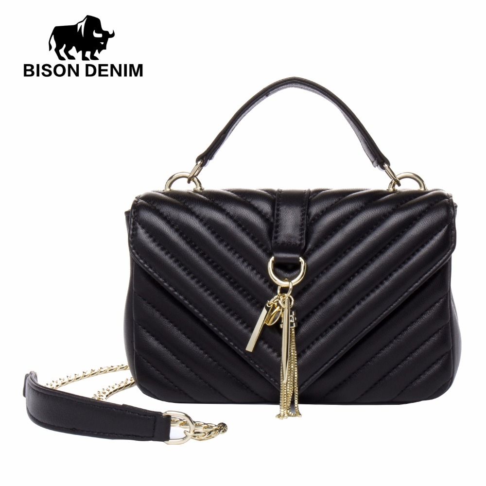BISON DENIM Genuine Leather Women Messenger Tassel Bags High Quality Famous Brands Design N1382