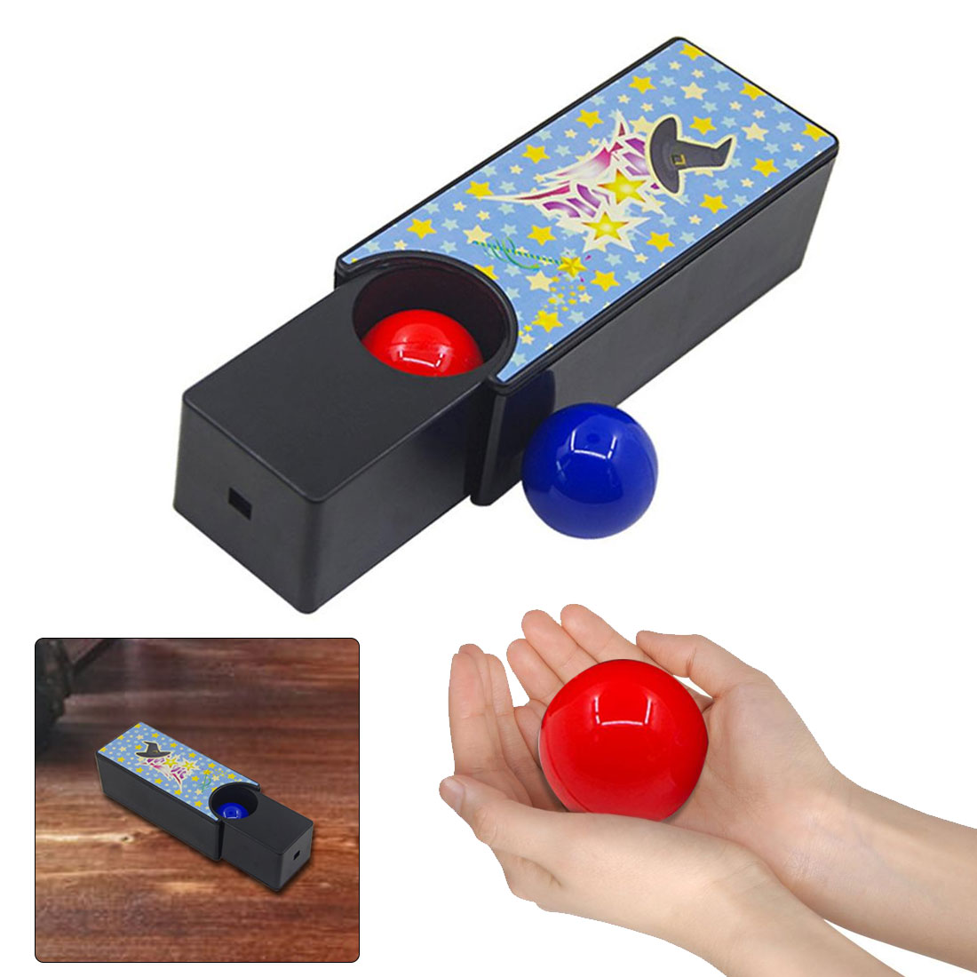 A Set Changeable Magic Box Turning The Red Ball Into The Blue Ball Props Magic Tricks Toys Classic Toys(China)