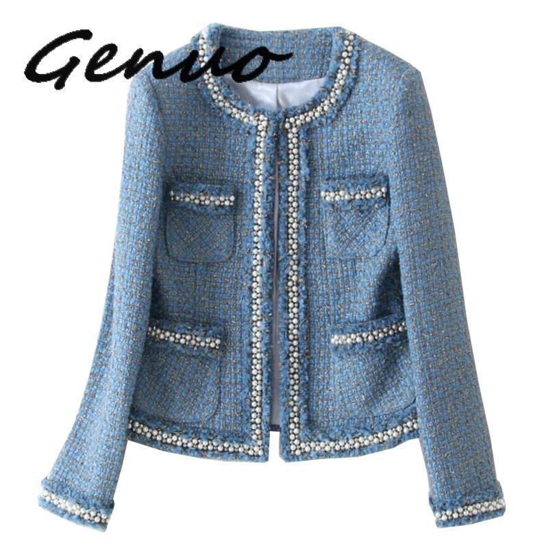 Genuo Tweed เสื้อ 2019 ฤดูใบไม้ร่วงผู้หญิง & #39 s ประดับด้วยลูกปัดแขนยาวผ้าขนสัตว์ Fringed Trim Tassels ไข่มุกกระเป๋ารันเวย์แจ็คเก็ต-ใน แจ็กเก็ตแบบเบสิก จาก เสื้อผ้าสตรี บน   1
