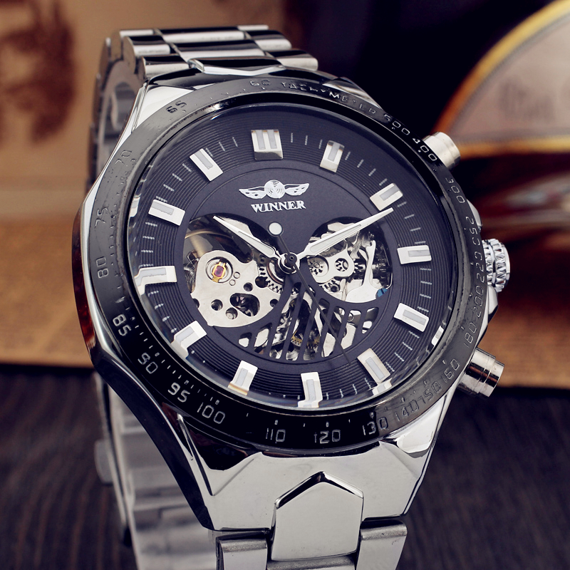 WINNER Men Luxury Brand Military Skeleton Stainless Steel Band Watch Automatic Mechanical Wristwatches Gift Box Relogio Releges hot 2016 winner luxury brand sports men s automatic skeleton mechanical military wrist watch men full steel stainless band reloj
