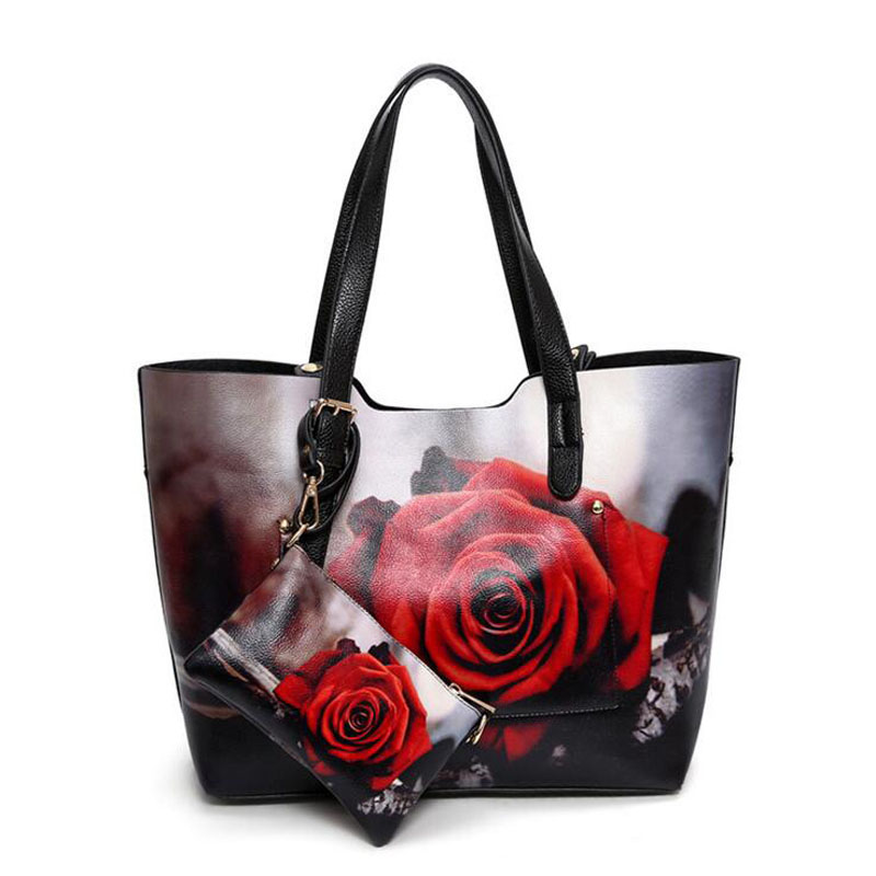 ФОТО 2017 New Women Handbags Rose Painting PU Leather 3 Pieces Composite Bags Female European And American Style Bucket Shoulder Bag