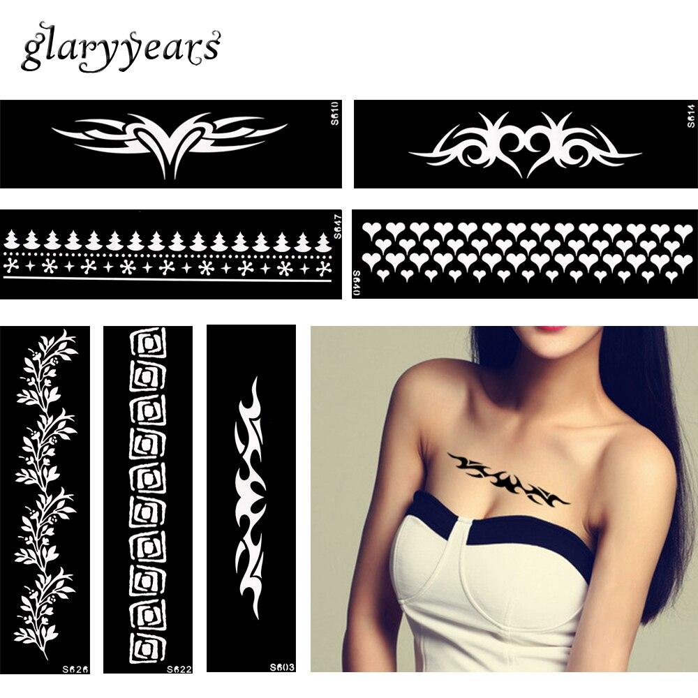 48 Design 1 Piece Henna Tattoo Stencil Strip Bracelet Chain Design For Women Body Art Waterproof Jewelry Henna Stencil Temporary