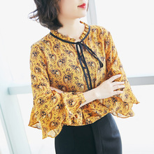 Silk print long sleeve pullovers blouse 2018 new runway women spring summer shirts high quality office lady