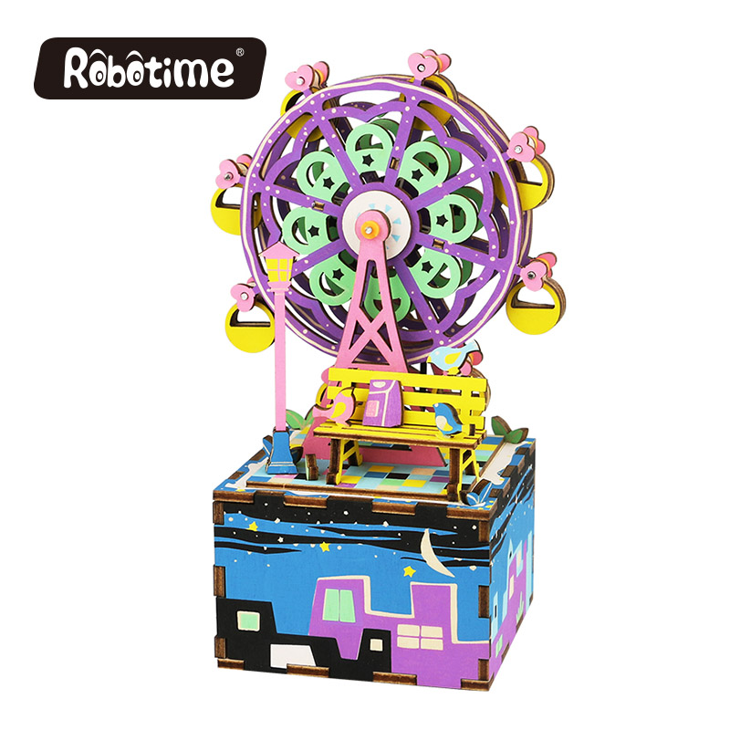 Free Shipping Robotime 3D Puzzle DIY Cool Mechanism Gift Wooden Greeting Souvenir Birthday Present <font><b>Music</b></font> Box Ferris Wheel AM402