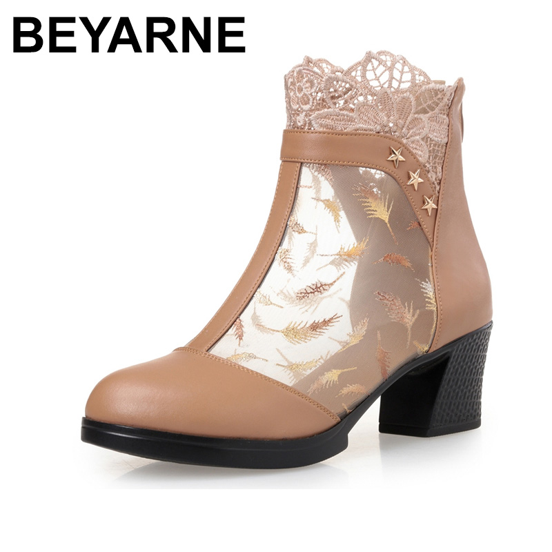 BEYARNE New Summer Ankle Boots For Women Genuine Leather Fashion Cut-Outs Mesh Zip Sandals Ladies Peep Toe High Heel Shoes Woman fashion summer shoes metallic leather pompom caged ankle strap sandals peep toe cut outs spike heel gladiator sandals miquinha
