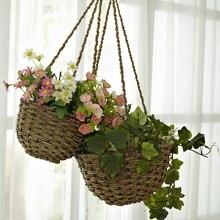 Rattan hanging basket rustic straw braid basket flower rack wall storage wall decoration