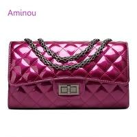 Aminou Luxury Patent Leather Women Handbags Brand Designer Quilted Chain Shoulder Bag Crossbody Bag sac a main Femme Bolsa