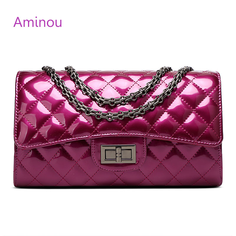 Aminou Luxury Patent Leather Women Handbags Brand Designer Quilted Chain Shoulder Bag Crossbody Bag sac a main Femme Bolsa new 2017 fashion women pu leather shoulder bags ladies patent crossbody bag brand luxury handbags women bags designer sac a main