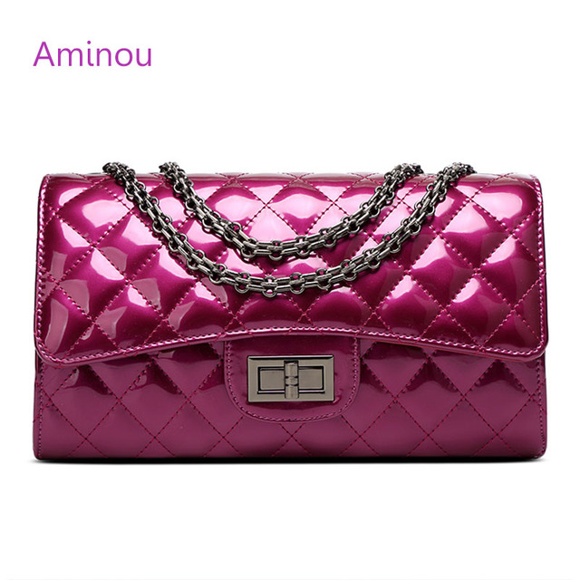 Aminou Luxury Patent Leather Women Handbags Brand Designer Quilted Chain Shoulder Bag Crossbody Sac A