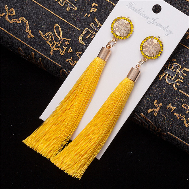 HTB1mjCvV3HqK1RjSZFPq6AwapXae - HOCOLE Bohemian Crystal Tassel Earrings Black White Blue Red Pink Silk Fabric Long Drop Dangle Tassel Earrings For Women Jewelry