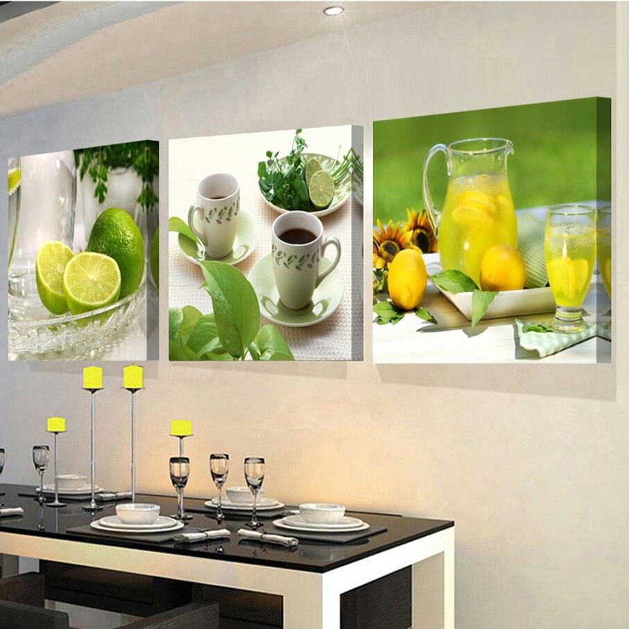 3 panelen schilderijen voor de keuken fruit muur decor moderne ...