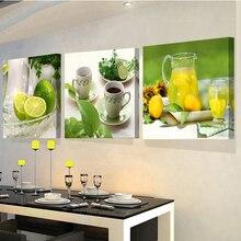 3 Paneles pinturas de la fruta de la cocina decoración de la pared moderna de la lona arte de la pared pictures for living room descorative fotos
