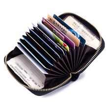 Wholesale Brand Women Credit Card Holder Genuine Leather Business ID Holders Fashion Mini Zipper Bank Cases Wallets