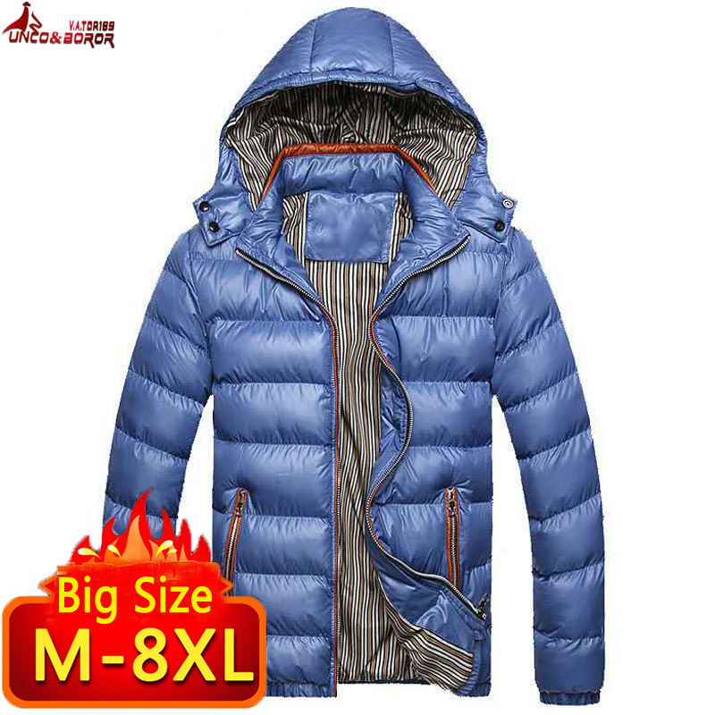 Image 2 - New Winter Jacket men 6XL 7XL 8XL Casual Mens Jackets And Coats Outwear cotton padded Parka Men windbreaker hooded Male Clothes-in Jackets from Men's Clothing