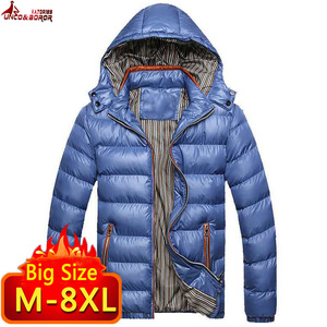 Image 2 - New Winter Jacket men 6XL 7XL 8XL Casual Mens Jackets And Coats Outwear cotton padded Parka Men windbreaker hooded Male Clothes