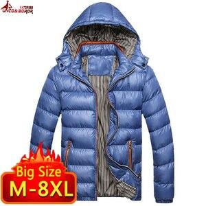 Image 2 - Vestes et manteaux dhiver pour homme, coupe vent à capuche en coton pour homme, 6XL, 7XL et 8XL, décontracté