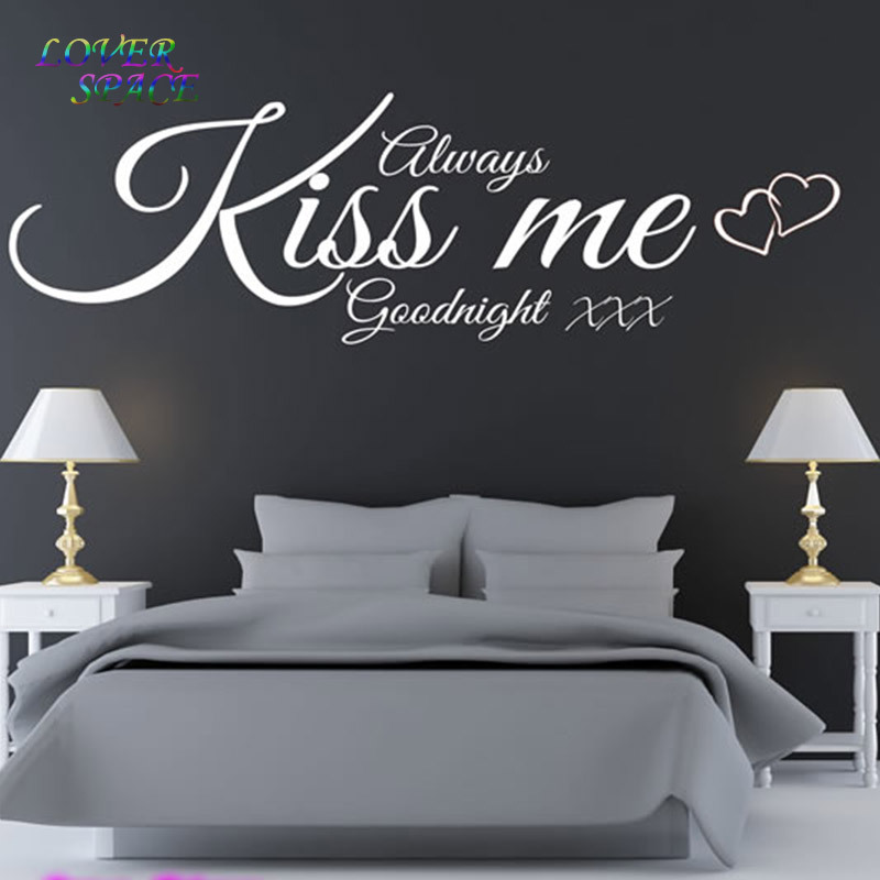 ALWAYS KISS ME GOODNIGHT quote wall decal bedroom love wall sticker