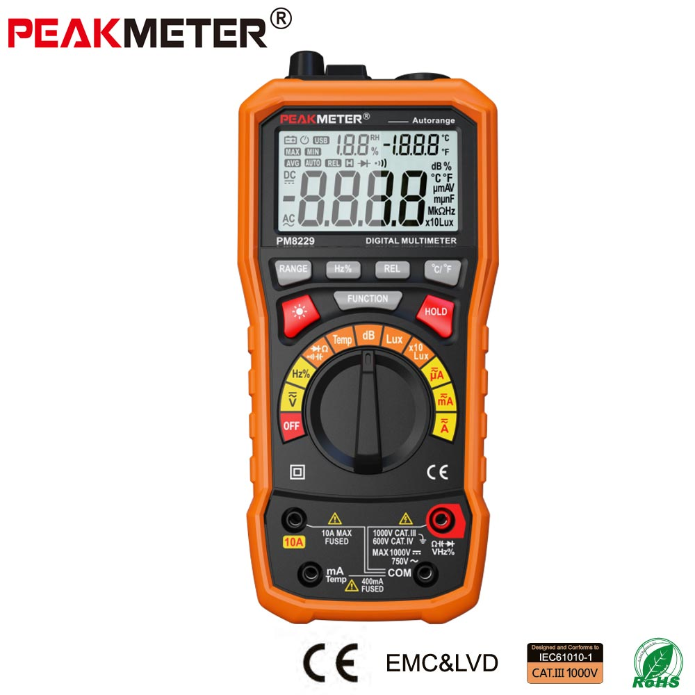PEAKMETER PM8229 5 in 1 Auto Digital Multimeter With Multi-function Lux Sound Level Frequency Temperature Humidity Tester Meter brand new professional digital lux meter digital light meter lx1010b 100000 lux original retail package free shipping
