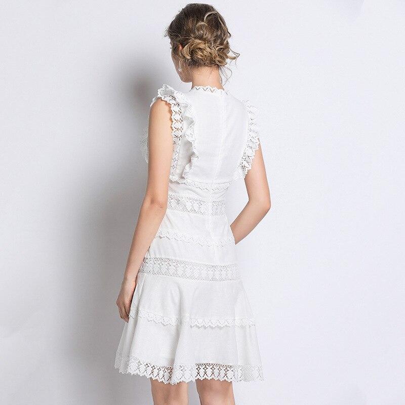 Blanc 2019 Évider Dentelle Patchwork Sexy Genou Femmes Été Flare Club longueur cou amp; Party Robe V Slim Printemps Fit qfII0