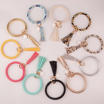 2019 New PU Leather O Key Chain Custom Circle Cute Same Color Tassel Wristlet Keychain Wholesale Women Girls 11Colors Keychain