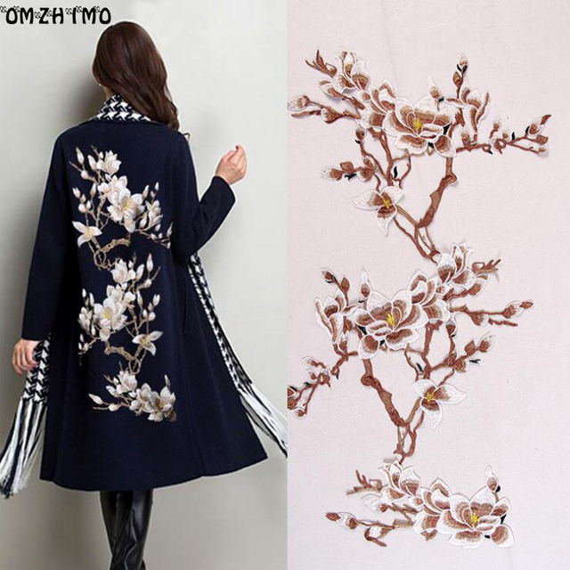 New Plum Blossom Flower Applique Clothing Embroidery Patch Fabric Sticker  Sew On Patch for coat Craft Sewing Repair Embroidered 8135ba30a410