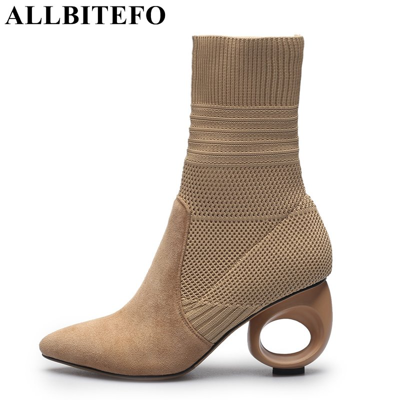 ALLBITEFO special heel design sheepskin+wool pointed toe thick heel women boots brand high heels ankle boots martin boots