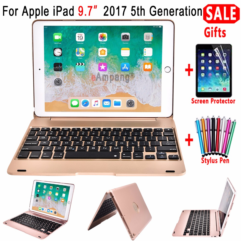 For Apple New iPad 9.7 2017 5 5th Generation A1822 A1923 Wireless Bluetooth Keyboard Smart Flip Cover Case + Screen ProtectorFor Apple New iPad 9.7 2017 5 5th Generation A1822 A1923 Wireless Bluetooth Keyboard Smart Flip Cover Case + Screen Protector