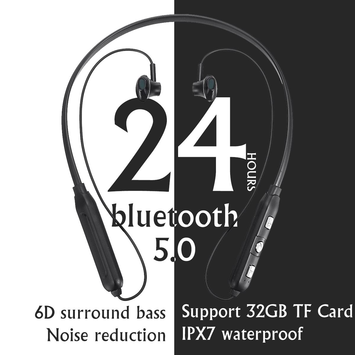 Wireless bluetooth 5.0 Sports Earbuds Stereo Bass Earphones Magnetic IPX7 Waterproof 32GB TF Card for Running Workout Gym