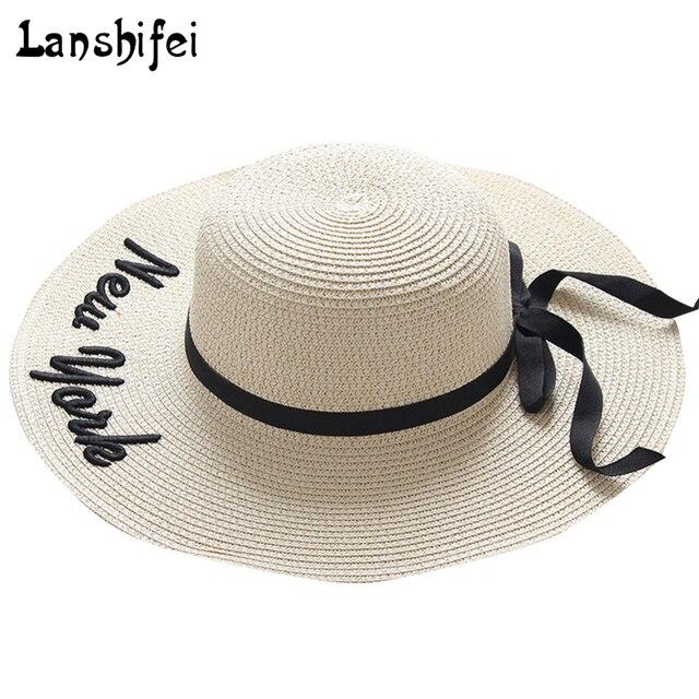 06d6041f 1Pcs Summer New york Women's Sun Hat Black Bowknot Ribbon Flanging Straw  Hat Beach Caps Head
