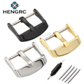 HENGRC Solid Stainless Steel Watch Band Clasp 16 20 22 24mm Silver Gold Black Metal Leather Watchband Strap Pin Buckle Belt