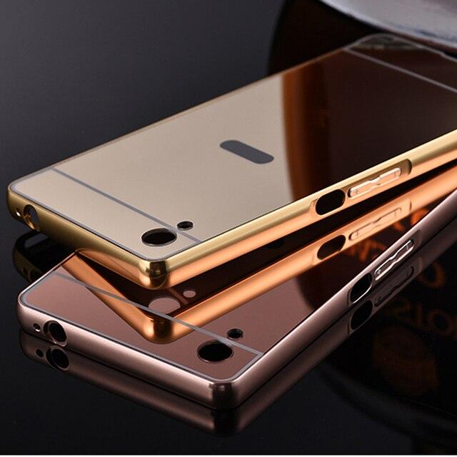 58c71579e4e Case for Sony Xperia M4 Aqua phone metal frame plus Acrylic mirror back  cover Cellular shell Capa Para Fundas coque carcasas