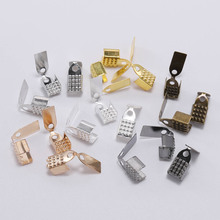 100pcs 4 5 6mm Metal Rope Fastener Crimp Fold Over Cord End Cap leather Clip Connector For DIY Jewelry Making Findings Supplies