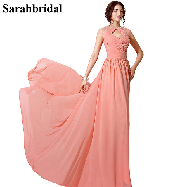 In Stock Long Sexy Coral Prom Dresses 2017 Beaded Special Occasion ...