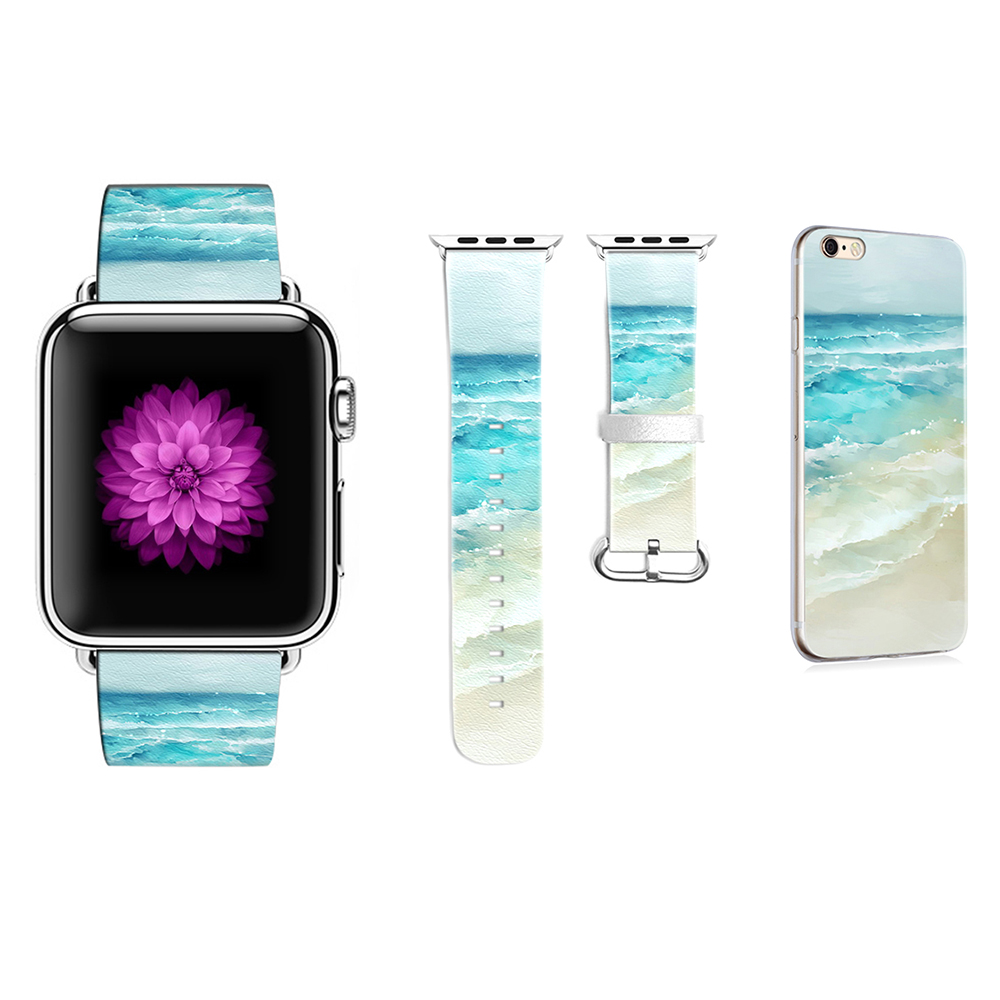 цена на Custom Edition Painted Pattern Watchband for Apple Watch Band 38mm 42mm Leather for Iwatch Band Original Gifts for IPhone Case