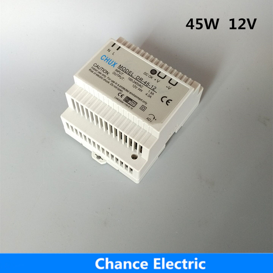 DR-45-12 12v 45w LED Din Rail mounted switching Power Supply Transformer 110V 220V AC to DC  Free Shipping 45