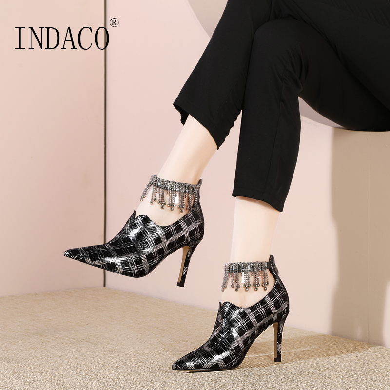 2019 Pumps Women Shoes Leather High Heel Pumps Rhinestone Printed Sheepskin Office Ladies Shoes 7 5cm