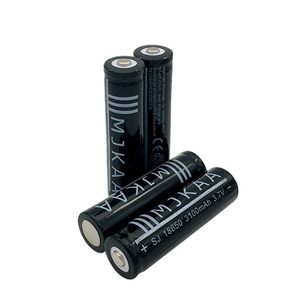 2pcs 18650 Battery 3.7V 3100mAh Rechargeable li-ion Battery + 1pcs 4 Ports Charger for Batery 18650