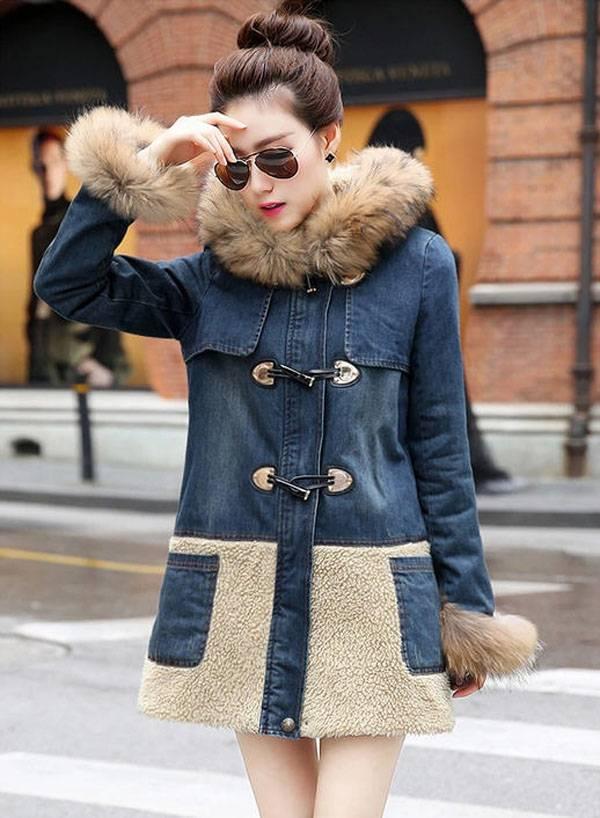 Winter denim coat font b women b font long section raccoon fur collar jacket cotton font